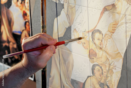 Pintor de azulejos, ceramista de Triana Wallpaper Mural