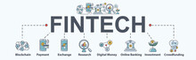 Fintech Banner Web Icon Set, Blockchain, Financial Technology, Payment, Online Banking, Investment And Crowdfunding . Minimal Vector Infographic Concept.
