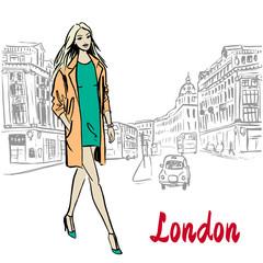 Fototapeta Woman walking in London