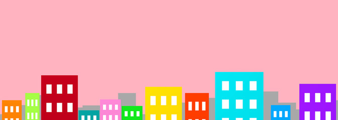 Panel Szklany Colorful buildings on pink background cityscape 3D illustration copy space