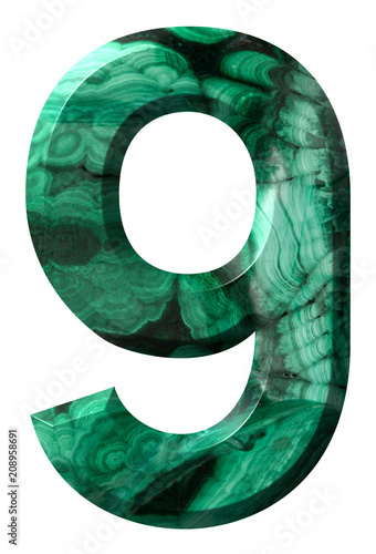 Poster  Arabic numeral 9, nine, from natural green malachite, isolated on white backgrou