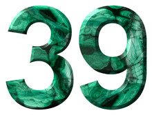 Arabic Numeral 39, Thirty Nine, From Natural Green Malachite, Isolated On White Background