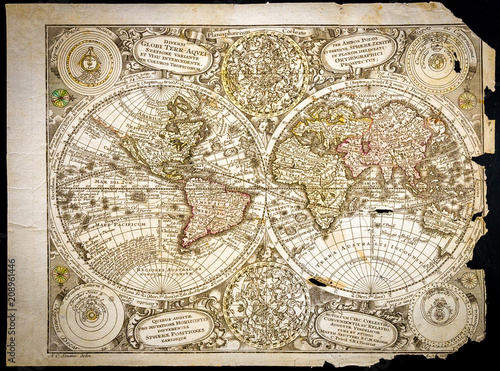 Very Old World Map Torn Of Old Style Of The 18th Century With On