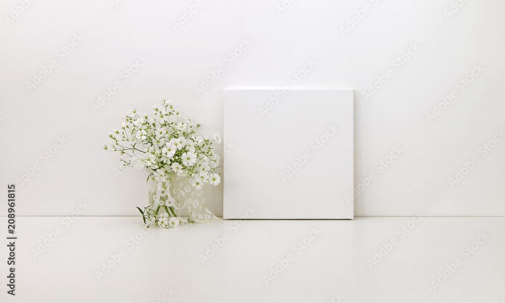 Fototapety, obrazy: Square canvas mockup, white flowers, styled stock photo