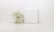 Square Canvas Mockup, White Fl...