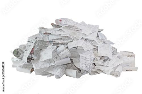 Fotografie, Obraz  Paper Receipt Pile
