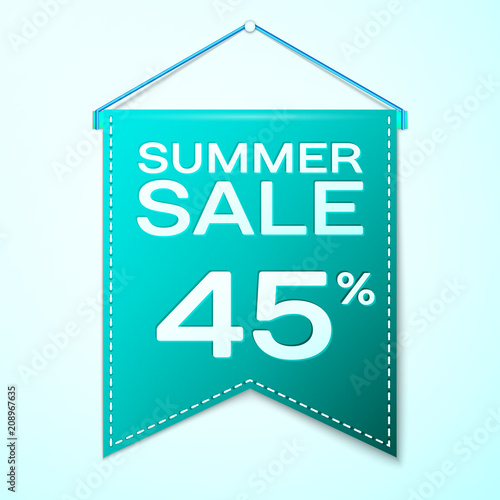 Photographie  Realistic Green pennant with inscription Summer Sale Forty five percent Discounts over a green background