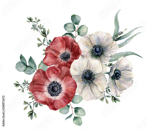Photo Watercolor red and white anemone bouquet