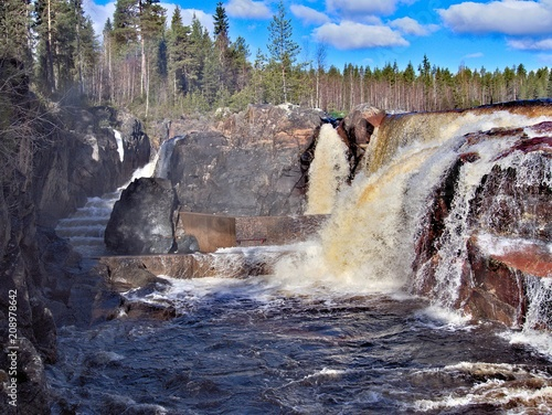Deurstickers Noord Europa Jockfall, waterfall in the north of Sweden