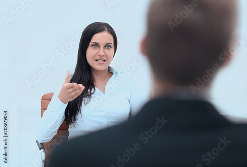 Severe female manager criticize her team member Fototapeta