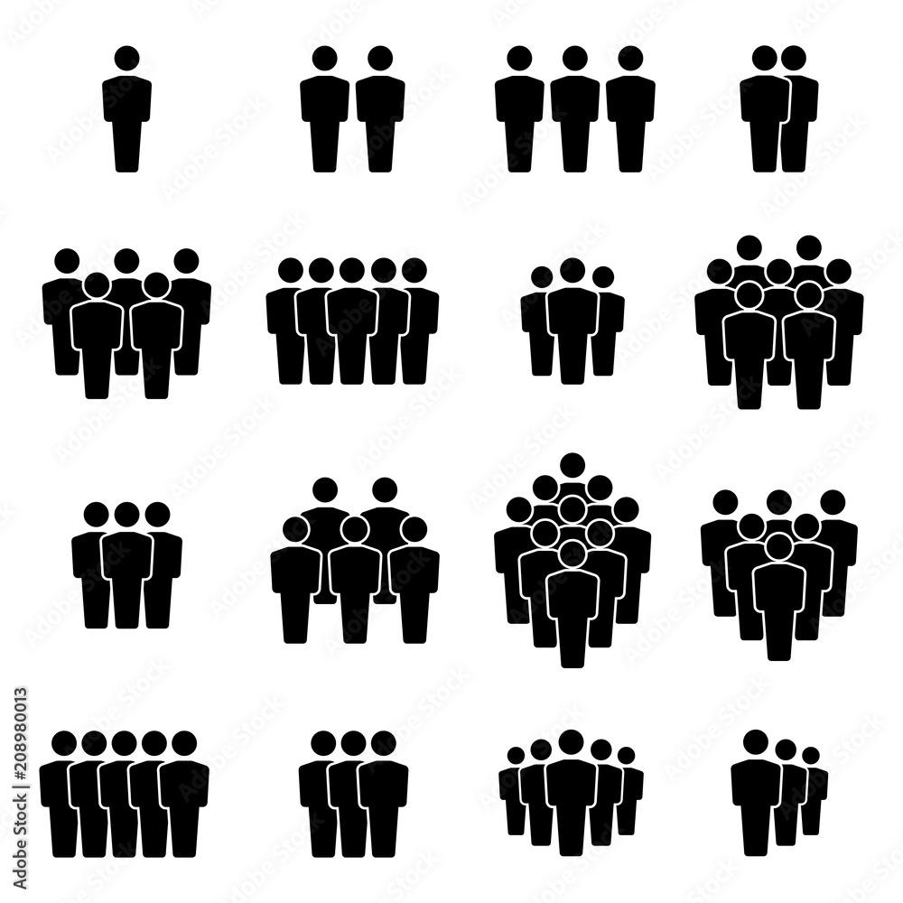 Fototapeta Team icons set. Group of people icons. Vector illustration