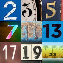 Collage Of Primary Numbers From Two To Twenty Three