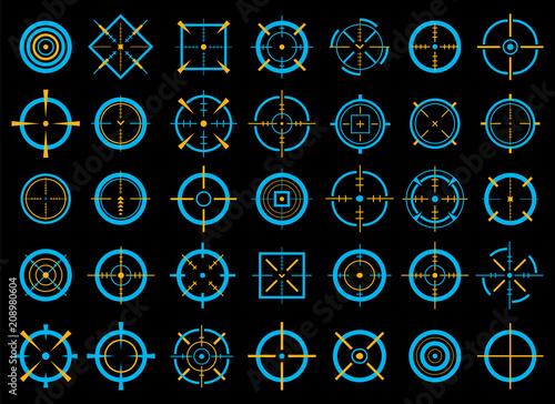 Creative vector illustration of crosshairs icon set isolated on transparent background Fototapeta