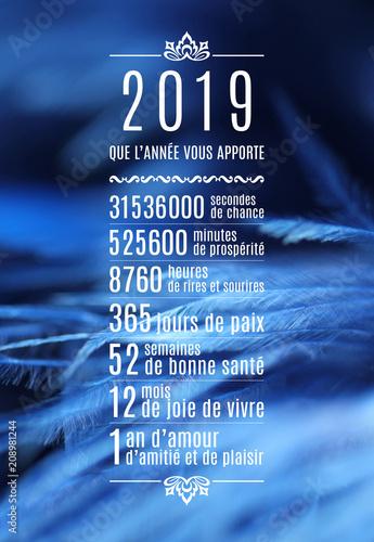Fotografia  2019-Carte de vœux mois, semaines, heures, fond plumes-1