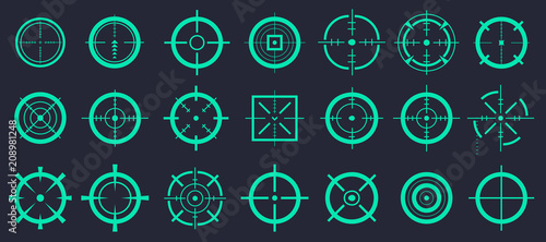 Creative vector illustration of crosshairs icon set isolated on transparent background Wallpaper Mural
