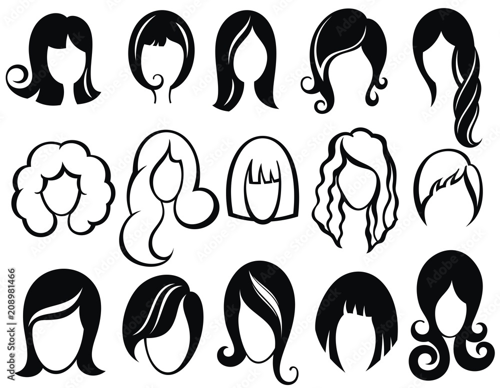 Fototapeta Hairstyle silhouette.Woman,girl,female hair.Beauty Vector wig symbols