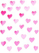 Hand drawn color watercolor pattern element pink love heart
