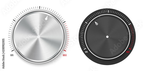 Canvas Print Creative vector illustration of dial knob level technology settings, music metal button with circular processing isolated on background