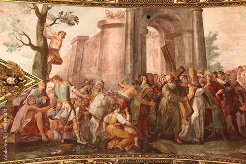 Eraclio riporta la Croce a Gerusalemme; affresco dei Carlone nella chiesa di San Canvas Print
