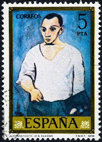 Fotomural  stamp printed by Spain shows self-portrait  by Pablo Ruiz Picasso