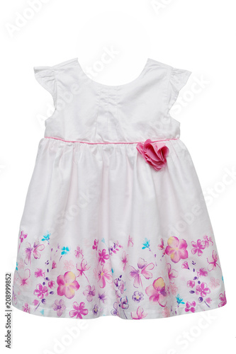 cad600acf7 White baby dress with flowers isolated on white - Buy this stock ...
