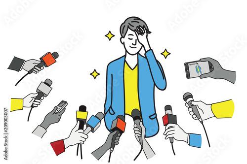 Fotografie, Obraz Pretty young celebrity wave hand to press