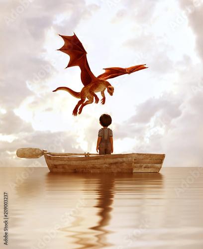 Naklejka premium chłopiec stojący na starej drewnianej łódce na morzu patrząc na smoka latającego nad niebem, 3d ilustracji