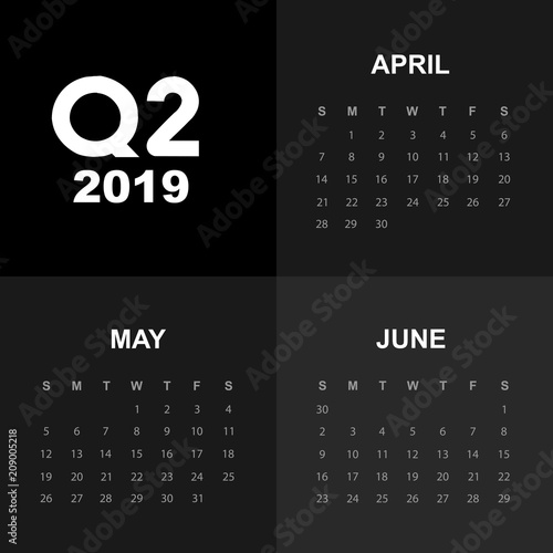 Fototapeta Second quarter of calendar 2019 obraz