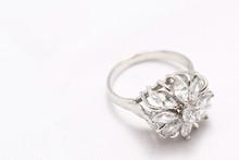 Diamond Flower Ring , Love Symbol