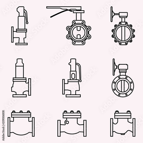 Set of various types of industrial valves. Thin line vector фототапет