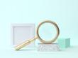 Leinwanddruck Bild - 3d rendering gold magnifying glass abstract blue-green geometric scene