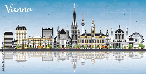 fototapeta na lodówkę Vienna Austria City Skyline with Color Buildings, Blue Sky and Reflections.