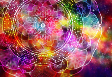 Abstract Mandala Graphic Design And Watercolor Digital Art Painting For Ancient Geometric Concept Background
