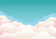 Blue Sky With Clouds.Vector Nature Background