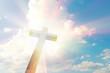 Leinwanddruck Bild - Wood cross on blue sky