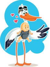Cute Stork With Baby In Sling Vector Illustration