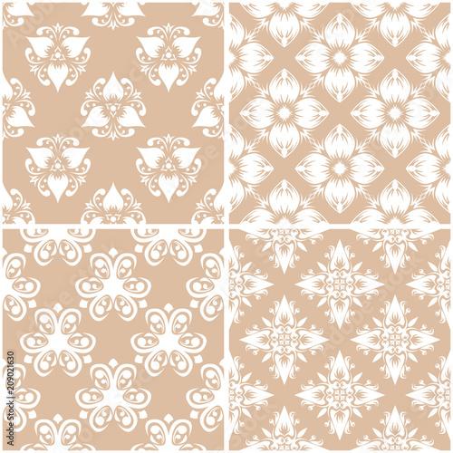 Fotobehang Kunstmatig Floral patterns. Set of beige and white seamless backgrounds