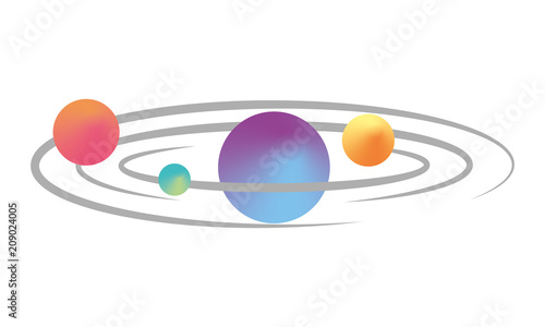 Obraz space planets orbiting isolated icon vector illustration design - fototapety do salonu