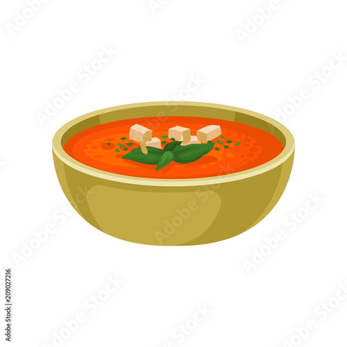 Fototapeta Refreshing gazpacho soup in ceramic bowl