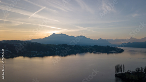 Fototapeta aerial view of beautiful lake obraz na płótnie