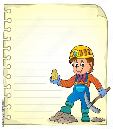Poster Voor kinderen Notepad page with miner theme 1