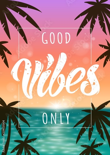 Deurstickers Positive Typography Good Vibes illustration