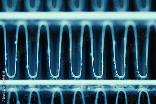 Horizontal blue metal structured surface. Background of steel texture. Serpentine. Template.