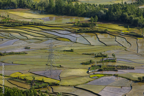 Cadres-photo bureau Les champs de riz Aerial view of Kashmir valley with rice field terraces
