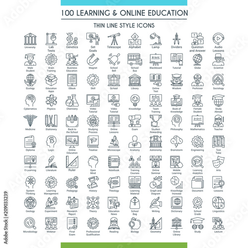 Photo Learning and online education icons set