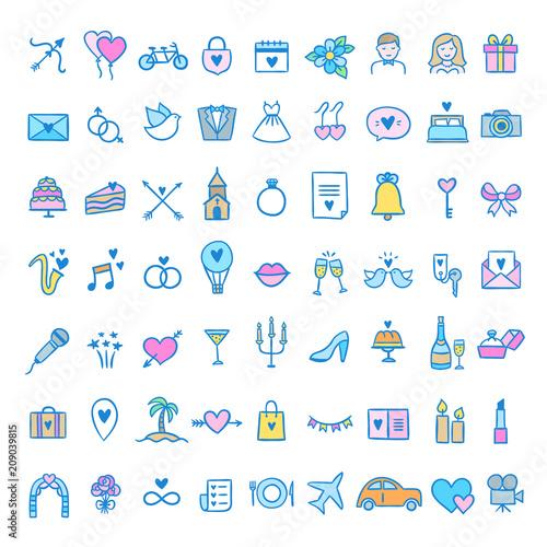 Wedding Icons Set Cute Symbols About Wedding Honeymoon Party