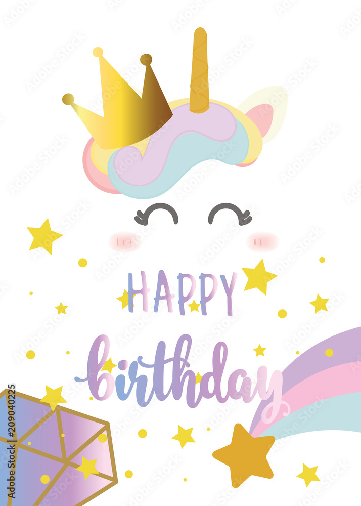 Happy Birthday Card With Cute Unicorn Greeting Foto Poster Wandbilder Bei EuroPosters