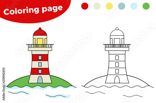 Educational game for children. Cartoon lighthouse coloring page ...