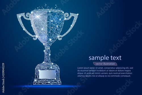 Photo abstract design winner cup, logo isolated from low poly wireframe