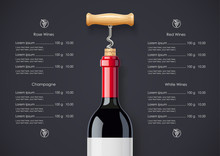 Red Wine Bottle, Cork And Cork...